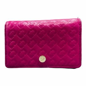 Diane Von Furstenberg Hot Pink Card Case Mini Wallet Embossed Leather